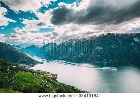 Aurland, Sogn And Fjordane Fjord, Norway. Amazing Summer Scenic View Of Sogn Og Fjordane. Ship Or Fe