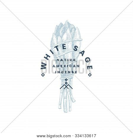 Hand-drawn Bunch Of White Sage. Logo Template, Emblem For Your Design. Ancient Incense Of Indians Of