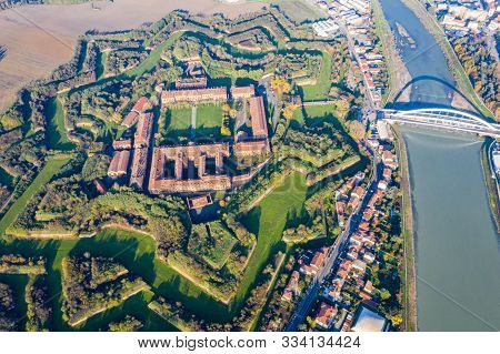 Aerial View Of Walls And Bastions Of Modern Six-star Hexagon Shaped Fort Cittadella Of Alessandria O