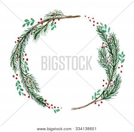Cute Watercolor Christmas Wreath With Fir Twigs, Branches And Red Berries. Bright Round Hand Drawn I