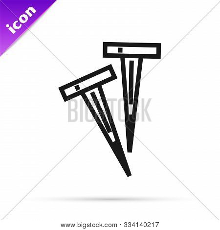Black Line Pegs For Tents Icon Isolated On White Background. Extreme Sport. Sport Equipment. Vector