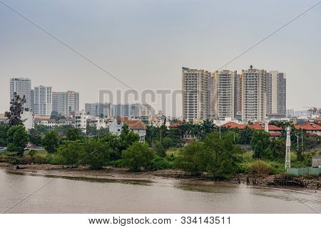 Ho Chi Minh City Vietnam - March 12, 2019: Song Sai Gon River. Development Of Better Housing And Hig