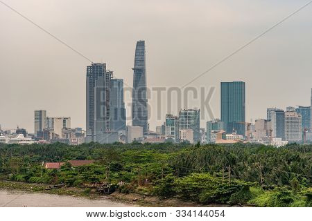 Ho Chi Minh City Vietnam - March 12, 2019: Song Sai Gon River. Bitexco Financial Tower With Skydeck