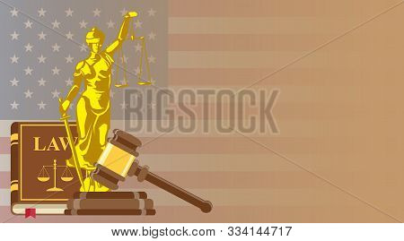 Business Card For Lawyer Or Judicial Worker. Statue Of Justice With Judge Hammer And Law Book On Us