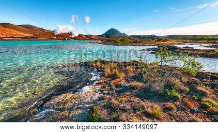 Geothermal Landscape At Krafla Bjarnarflag Diatomite Power Station  And Hlidarfjall Mountain In The