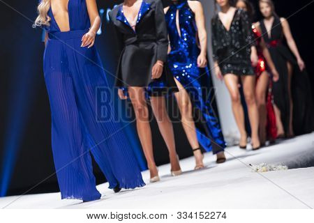 Sofia, Bulgaria - 18, September 2019: Female Models Walk The Runway In Beautiful Designer Dresses Du