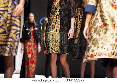 Sofia, Bulgaria - 19, September 2019: Female Models Walk The Runway In Beautiful Designer Dresses Du