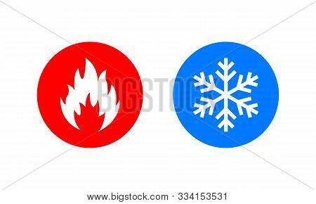Symbol Of Warmth And Cold. Heat And Cold Sign. Freezing And Fire Icon. Vector Eps 10