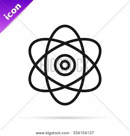 Black Line Atom Icon Isolated On White Background. Symbol Of Science, Education, Nuclear Physics, Sc