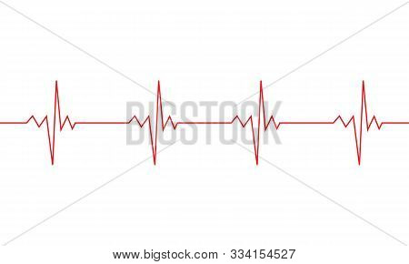Heartbeat Line Symbol. Ekg Cardio Pulse Sign Isolated On White Background. Vector Eps 10