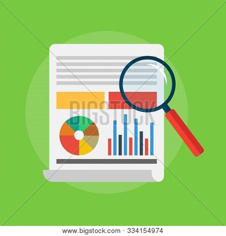 Analytics And Data Analysis With Graphs And Charts. Magnifying Glass. Vector Illustration Of A Flat
