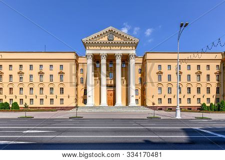 Building Of The State Security Committee Of The Republic Of Belarus (kgb) In Minsk. The Building Was