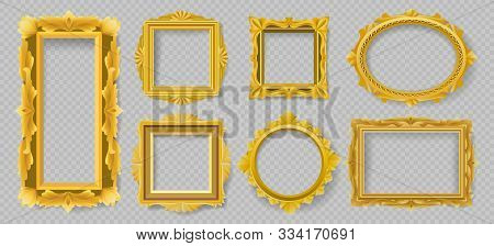 Vectortiang Floral Picture Frames. Vector Gold Wood Ornament Frame Objects, Old Wooden Antique Class