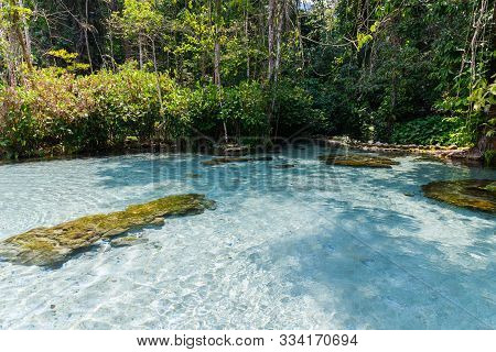 Crystal Clear Water At Ban Nam Rad Watershed Forest In Surat Thani/unseen Thailand, Travel Concept