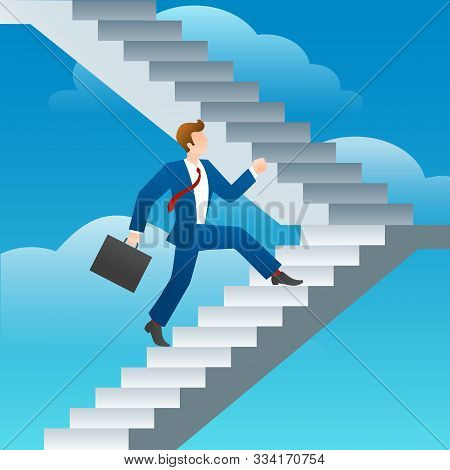 Success Business Man Stairs Run. Businessman Staircase Walk Vector Illustration, Steps To Success Co