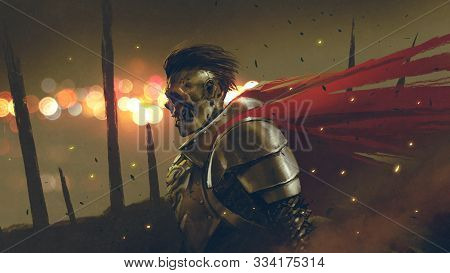The Undead Knight In Medieval Armors Prepares For Battle Against A Background Dawn, Digital Art Styl