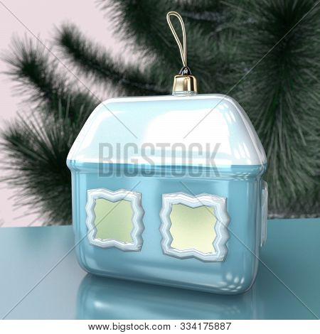 3d Illustration Of Christmas Tree House Toy Design Close Up On Green Tree Background