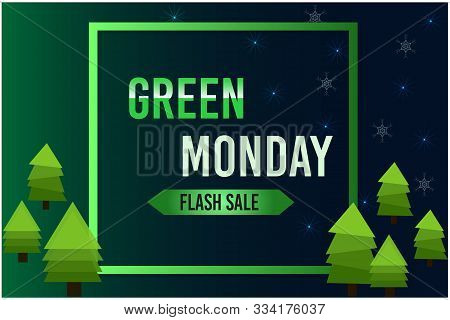 Green Monday Sale Pine Tree On Frame Background