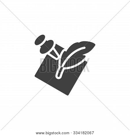 Notepaper With Feather Pen Vector Icon. Filled Flat Sign For Mobile Concept And Web Design. Quill An