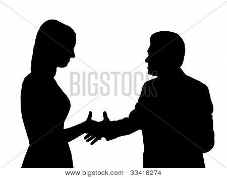 Silhouette of the man shaking hand to young woman