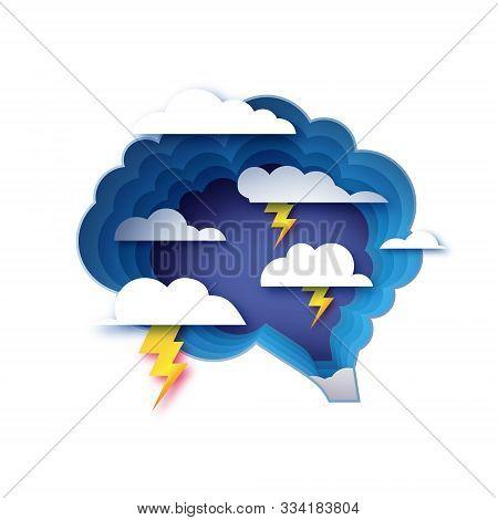 Brainstorm Paper Cut Style. Origami Brain And A Lightning Storm. Thinking Process, Good Idea, Brain