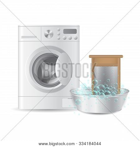 Realistic Automatic Washing Machine And Ribbed Hand Washboard In Metal Basin With Soap Bubbles Isola