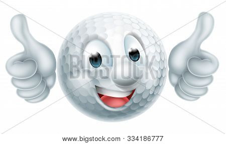 Golf Ball Man Mascot Character Doing A Double Thumbs Up
