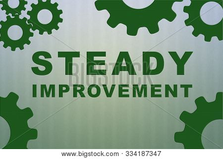 Steady Improvement Sign Concept Illustration With Green Gear Wheel Figures On Pale Green Strips Patt