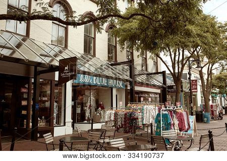 Burlington, Vermont - September 29th, 2019: Commercial Stores And Restaurants Along Pedestrian Shopp