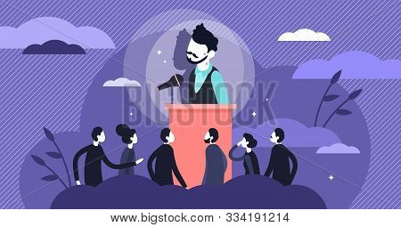 Stage Fright Vector Illustration. Stress Behavior In Flat Tiny Persons Concept. Scene With Afraid Of