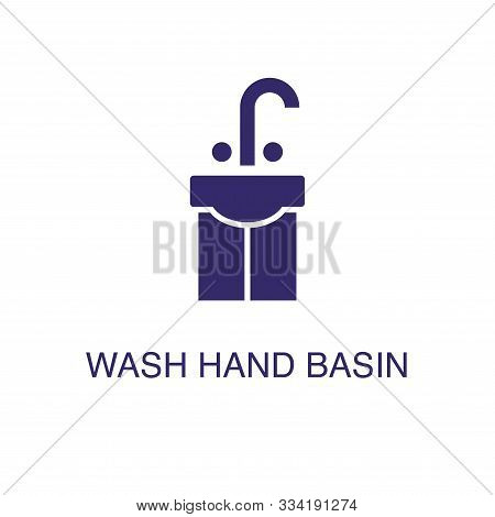 Wash Hand Basin Element In Flat Simple Style On White Background. Wash Hand Basin Icon, With Text Na