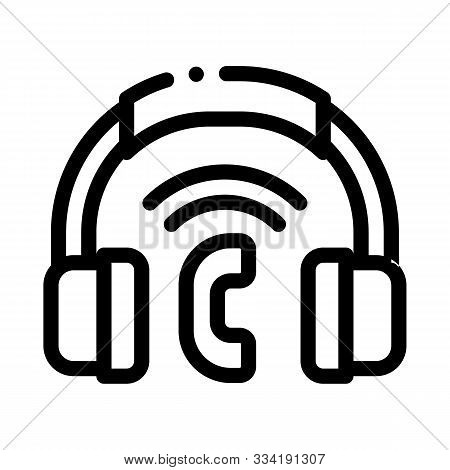 Voip System Headphones Icon Vector. Outline Voip System Headphones Sign. Isolated Contour Symbol Ill