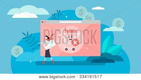 Abandoned Card Vector Illustration. Flat Tiny Cancel Purchase Persons Concept. Lack Of Buy Motivatio