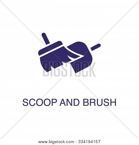 Scoop And Brush Element In Flat Simple Style On White Background. Scoop And Brush Icon, With Text Na