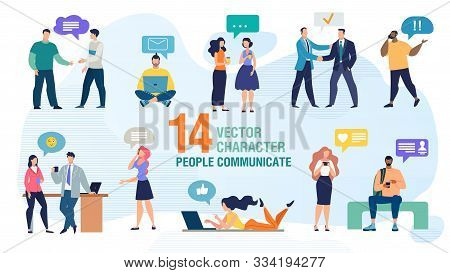 Communicating Personally And Using Gadgets People Trendy Flat Vector Characters Set. Man And Woman T