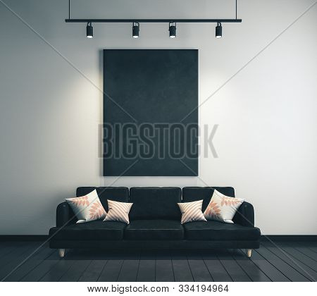 Modern Living Room Interior With Furniture And Empty Blackboard On Wall. Design And Style Concept. 3