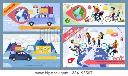 Bicycle And Car Family Trip Round Globe Promo Banner Set. Eco Tour For Cyclists, In Mountains, To Fo