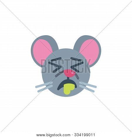 Drooling Rat Emoticon Flat Icon, Vector Sign, Sleeping Mouse Face Emoji Colorful Pictogram Isolated