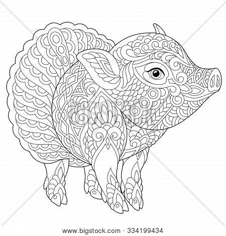 Coloring Page. Coloring Book. Colouring Picture With Cute Piggy. Chinese New Year Animal Symbol. Lin