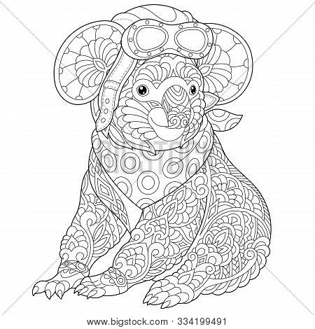 Coloring Page. Coloring Book. Colouring Picture With Retro Steampunk Pilot - Koala Bear. Line Art Sk