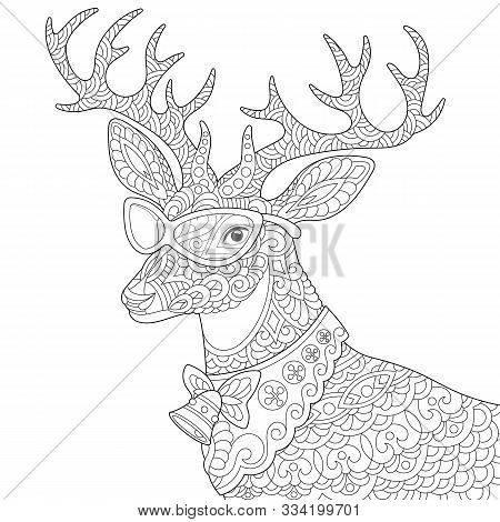 Coloring Page. Coloring Book. Colouring Picture With Vintage Reindeer. Christmas Deer With Jingle Be