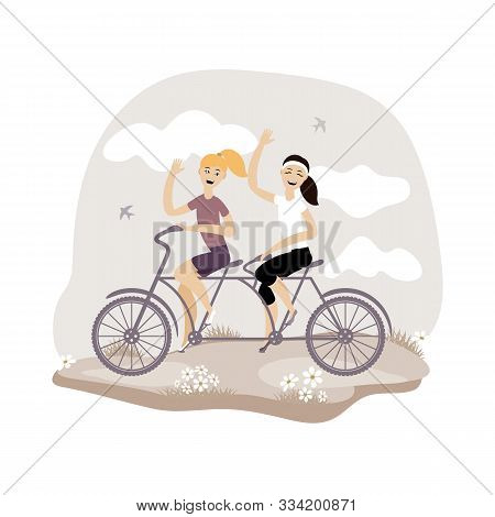 Young Girls Ride A Double Bike. Vector Illustration. Eps 10