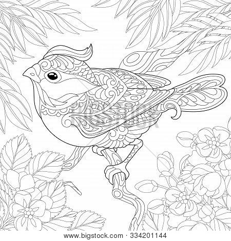 Coloring Page. Coloring Book. Colouring Picture With Bird Sitting On Tree Branch. Line Art Sketch De
