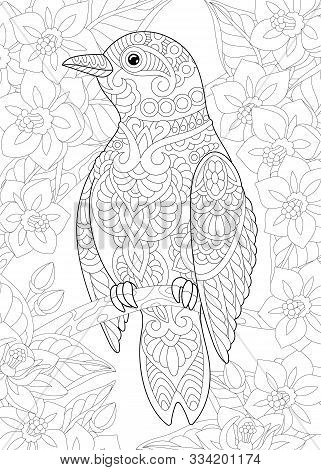 Coloring Page. Coloring Book. Colouring Picture With Bird Among Flowers. Line Art Sketch Design With