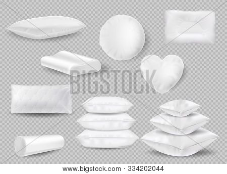 Set Of Pillows. White Cushion. Mockup Of Square And Roll And Round And Orthopedic Bedroom Cushions A