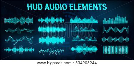 Set Audio Equalizer In Futuristic Style Hud, Concept Tech Sound Wave. Microphone Voice Control Techn