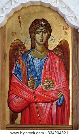 OHRID, MACEDONIA - MAY 04, 2019: Saint Michael the Archangel, altarpiece in the Church of Saint Paraskeva of the Balkans near Saint Naum Monastery, Ohrid in Macedonia