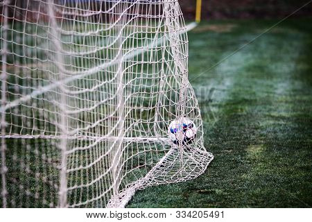 Odessa, Ukraine - Circa 2019: A Goalkeeper Of A Local Football Team Makes A Save While Playing In A