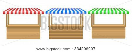 Street Stall With Awning.market Stall Set. Realistic Wooden Counter With Canopy For Street Trading.