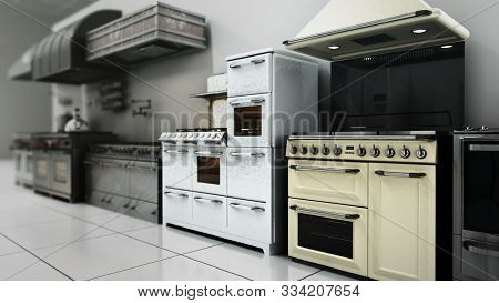 Kitchen Appliances In Supermarcket 3d Render Image